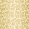 Turkish cucumber seamless pattern gold style ornate beige background Royalty Free Stock Photos