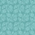 Turkish cucumber seamless pattern turquoise style ornate blue background Royalty Free Stock Photo