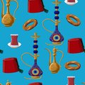 Turkish culture heritage fez, pitcher, hookah, glass of tea and simit seamless pattern on blue background.