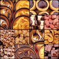 Turkish delight chocolate pistachio waffle chocolate custard cre plain cream tarts set collage collection black frame Stock Image