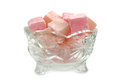 Turkish Delight in a crystal glass bowl isolated on white background Royalty Free Stock Photo