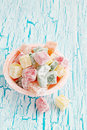Turkish delight delicious dessert on the cracked board Stock Photography