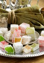 Turkish delight dessert rahat lokum different colors Royalty Free Stock Images