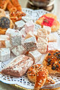 Turkish delight dessert rahat lokum different colors and baklava Stock Photo