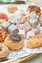 Turkish delight dessert rahat lokum different colors and baklava Royalty Free Stock Image