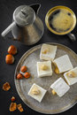 Turkish delight. Eastern dessert with hazelnut and Royalty Free Stock Photo
