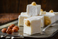 Turkish delight. Eastern dessert with hazelnut on Royalty Free Stock Photo