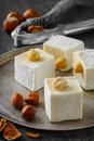 Turkish delight. Eastern dessert with hazelnut on Royalty Free Stock Photo