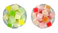 Turkish Delight in glass bowls isolated on white background. Royalty Free Stock Photo