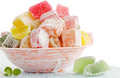 Turkish delight isolated delicious dessert on the cracked board Royalty Free Stock Image
