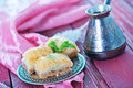 Turkish delight on the metal plate and on a table Royalty Free Stock Image