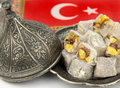 Turkish delight with nuts close up imge Stock Images