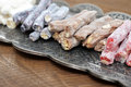 Turkish delight with nuts on metal tray closeup Royalty Free Stock Photos