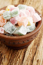 Turkish delight in old plate delicious dessert on the board Royalty Free Stock Photos