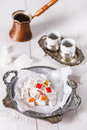 Turkish Delight over white wooden background Royalty Free Stock Photo