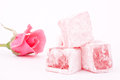 Turkish delight with rose flavour on a white background Royalty Free Stock Image