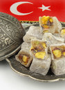 Turkish delight with traditional embossed metal plate Royalty Free Stock Images