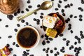 Turkish delights with coffee beans Royalty Free Stock Photo