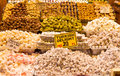 Turkish delights spice bazaar istanbul Royalty Free Stock Photo
