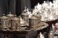 Turkish dishware bronze and silver Stock Photo