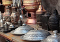 Turkish dishware bronze and silver Royalty Free Stock Images