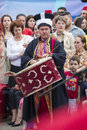 Turkish festival bucharest romania may unidentified member of traditional military band performs at drums during the celebratory Stock Image
