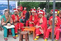 Turkish festival musicians in traditional costumes at in bucharest romania Stock Photography