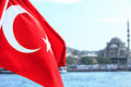 Turkish flag on bosphorus bank Stock Photography