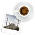 Turkish flag drawing on a cup of coffee and a photo of blue mosque white Royalty Free Stock Images