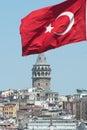 Turkish Flag And Galata Tower Royalty Free Stock Image