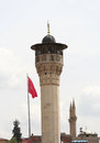 Turkish Flag and Minarets in Gaziantep Royalty Free Stock Photo