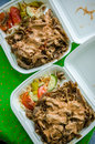 Turkish food delivery doner kebab home for two Royalty Free Stock Photography