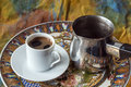 Turkish greek coffee is a method of preparing roasted and then finely ground beans are boiled in a pot cezve Stock Photos