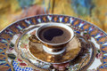 Turkish greek coffee is a method of preparing roasted and then finely ground beans are boiled in a pot cezve Stock Photo