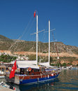 Turkish Gulet in kalkan Stock Photo