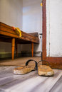 Turkish hammam wooden sandals for in istanbul turkey Stock Photo