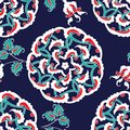 Turkish Iznik tile, seamless islamic pattern with oriental curve
