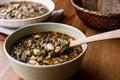 Turkish Kara Lahana corbasi / Black Cabbage or Kale Soup. Royalty Free Stock Photo