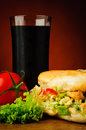 Turkish kebab and cola still life with vegetables Royalty Free Stock Image