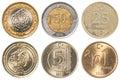 Turkish lira coins collection set isolaten on white background Royalty Free Stock Photo