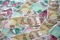 Turkish lira different banknotes of Royalty Free Stock Photo