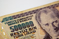 Turkish lira a five million bill from turkey Stock Photos