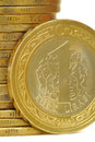 Turkish lira one coin on white Royalty Free Stock Photo