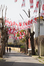 Turkish local elections istanbul march streets covered with flags and banners before in turkey on march in istanbul turkey Royalty Free Stock Image
