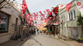 Turkish local elections istanbul march streets covered with flags and banners before in turkey on march in istanbul turkey Royalty Free Stock Photo
