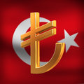 Turkish Lyra on flag background Royalty Free Stock Image