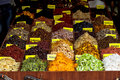 Turkish Market Stall Displaying colourful dried fruits Royalty Free Stock Photo