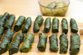 Turkish meal, stuffed grape leaves, rice and spice Stock Photos