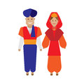 Turkish national dress illustration of costume on white background Stock Image