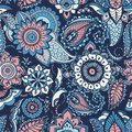 Turkish paisley seamless pattern with buta motifs and Arabic floral mehndi elements on blue background. Colorful